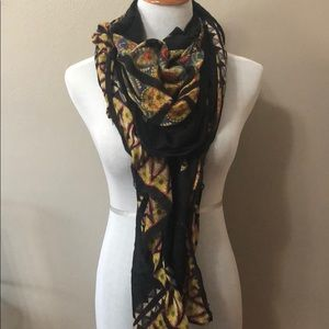 Accessories - Black with gold, blue, coral & green details scarf